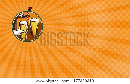 Business card showing Illustration of two glass full pint of beer with hand holding and tap in background set inside circle.