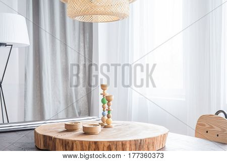Decorative Wooden Desk And Candlestick
