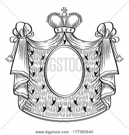 Heraldic shield. Royal mantle and crown. Vector Illustration.