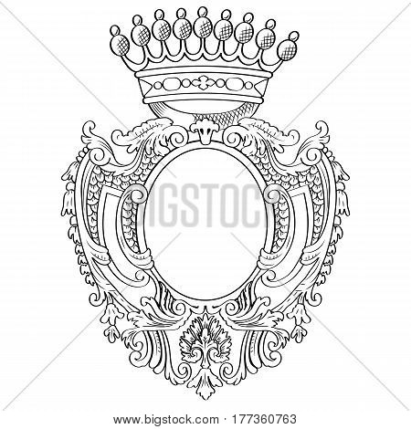 Heraldic frame with vintage crown. Vector Illustration.