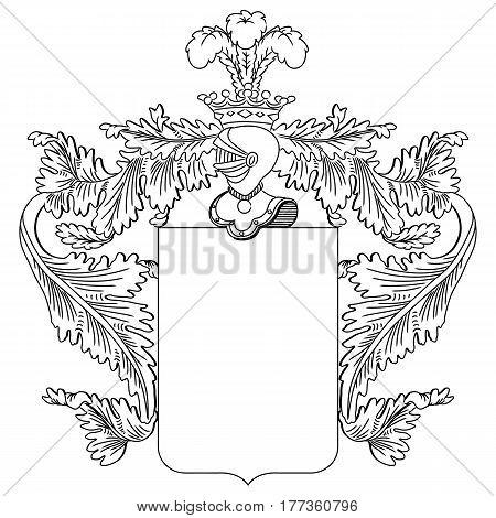 Heraldic shield and a knight's helmet. Vector Illustration.
