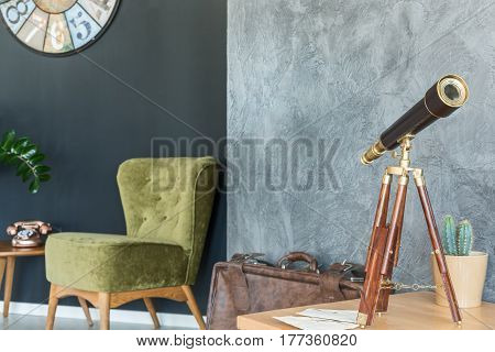 Armchair And Telescope In A Room