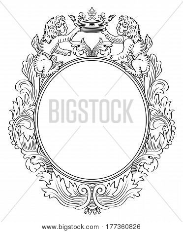 Floral Frame Two Lions and Crown; Vector Illustration