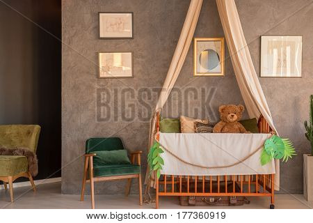 Room With Crib, Chairs And Drawings