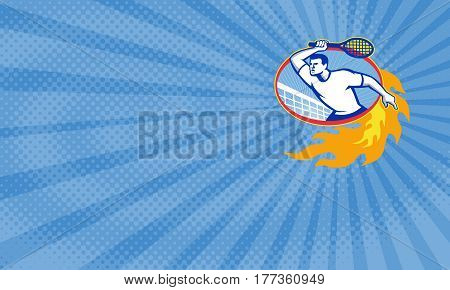 Business card showing Illustration of a tennis player holding racquet set inside oval with fiery fire flames done in retro style.
