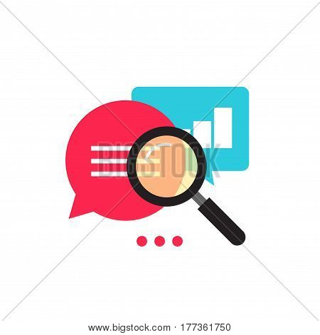Statistics research icon vector, flat style analysis data with growth graph, magnifier analyzing, analytics icon, information explore, metrics symbol