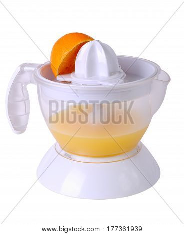 Juicer with juice and an orange half isolated on white