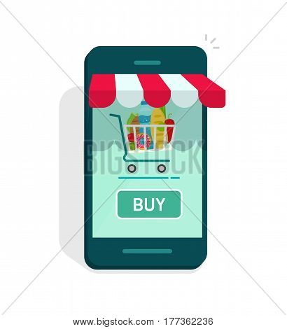 Smartphone online store vector illustration isolated, mobile phone as storefront with shopping cart and buy now button, concept of e-commerce internet shop showcase, ecommerce