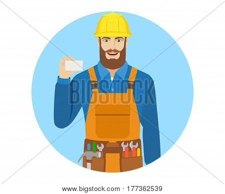 Worker showing the business card. Portrait of worker in a flat style. Vector illustration.