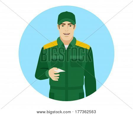 Man in uniform gives a business card. Portrait of Delivery man or Worker in a flat style. Vector illustration.
