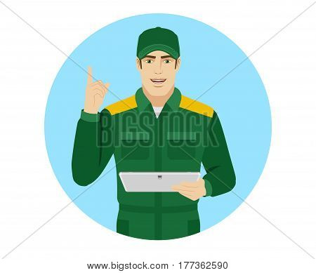 Man in uniform holding digital tablet PC and pointing up. Portrait of Delivery man or Worker in a flat style. Vector illustration.