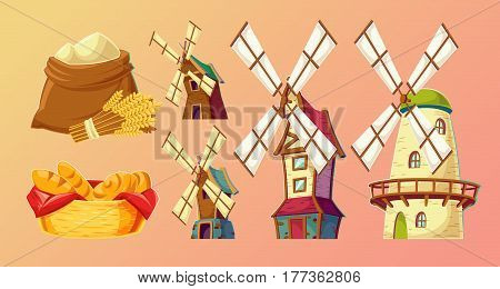 Collection of vector cartoon illustrations, icons of traditional old windmills, bag of flour, basket with bread.
