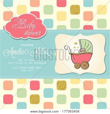 Beautiful Baby Shower Card Template With Golden Glittering Details
