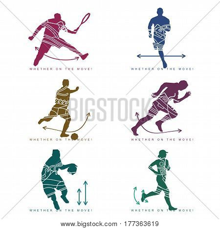 Vector illustration of silhouette of an athlete and sneakers. Sports shoes in a line style. Tennis player, football player, runner, basketball player. Isolated on a white background