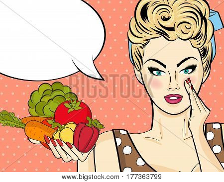 Sexy Blonde Woman With Many Vegetables In His Hands