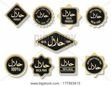 Islamic halal meal gold certified vector signs. Arabic kosher food products market labels isolated on background