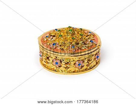 Jewelry box. Casket of gold with precious stones. Beautiful handmade jewelry boxes on a white background.