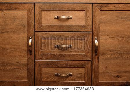 Detail Of Decorated Furniture Drawers. Old Drawer - Damper.