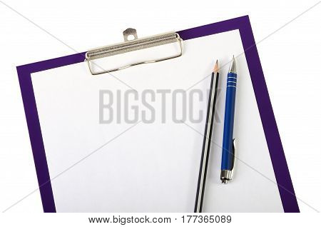 A piece of blank paper pen and wooden pencil on clipboard closeup isolated on white