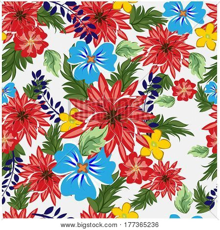 vector seamless pattern flowers and floral pattern illustration