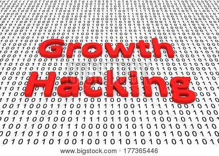 growth hacking in the form of binary code, 3D illustration