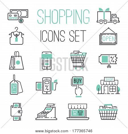 Shopping retail delivery gift card discount business internet and more thin line icons discount price set basket market vector illustration. Shipping retail online service package design.