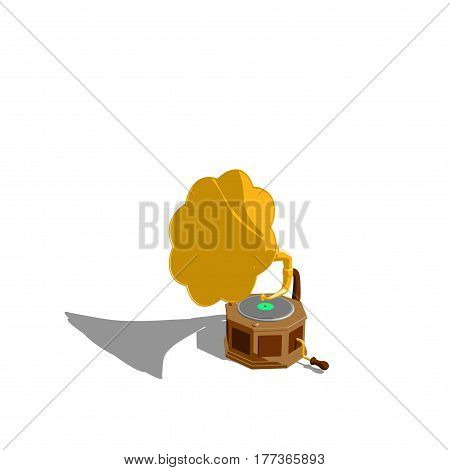 Gramophone.Isolated on white background. 3D rendering illustration. Cartoon style.