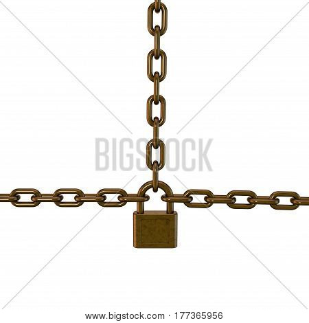 Padlock connecting chains. Isolated on white background. 3D rendering illustration.