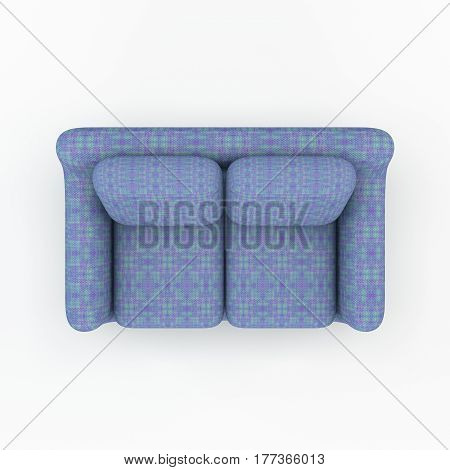 Sofa. Isolated on white background. 3D rendering illustration.Top view. 3D rendering