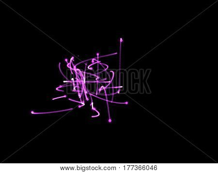 Abstract shape of purple motion particles. Isolated on black background. Luminance effect. Digital illustration.
