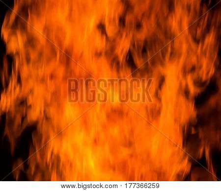 Background of fire. Texture fire flames  throughout the space. Fire red up close. The background with flames of fire.