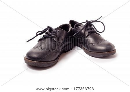 Black Worn Leather Shoes On White Background