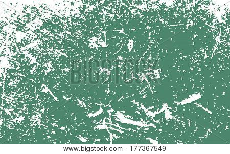 Paint White Color Smeared. White Splashes. Green Background. Grunge Texture. Vector Illustration