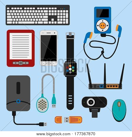 Electronic gadgets icons technology electronics multimedia devices everyday objects control and computer connection digital network vector illustration. Multimedia home display signs.