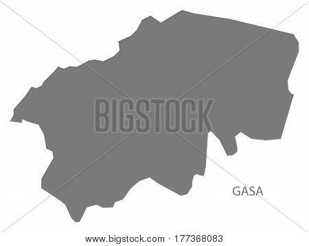 Gasa Bhutan District Map Grey Illustration Silhouette