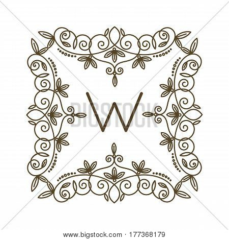Monogram W logo and text badge emblem line art vector illustration luxury template flourishes calligraphic leaves elegant ornament sign. Flourish outline decoration frame border with letter.