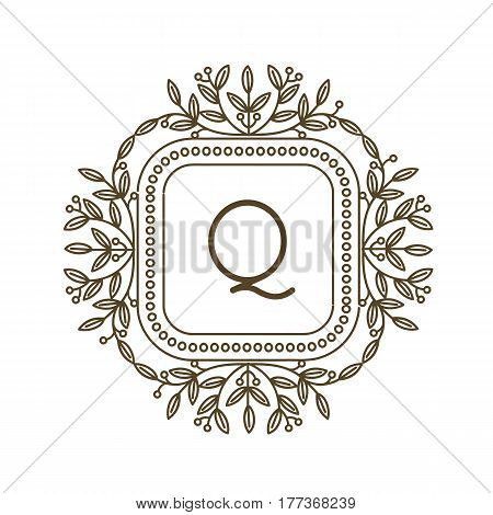 Monogram Q logo and text badge emblem line art vector illustration luxury template flourishes calligraphic leaves elegant ornament sign. Flourish outline decoration frame border with letter.