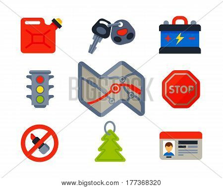 Auto transport motorist icons symbols and equipment symbols service car driver tools high detailed vector illustration set. Prohibitive signs transmission garage change vehicle automobile mechanic.