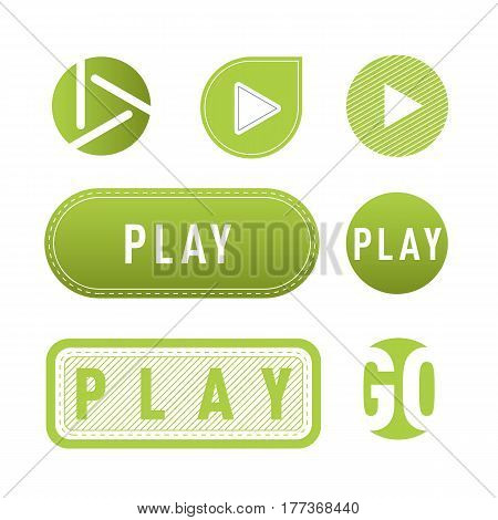 UI interface green button play media internet isolated website online concept element sign and online tube player approved mark click icon vector illustration. Accept success vote checkmark.