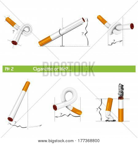 cigarette in various poses for tobacco control