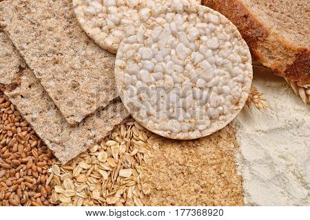 Macro Picture Of Many Different Kinds Of Products Made From Wheat (expanded Wheat, Diet Crisp Breads