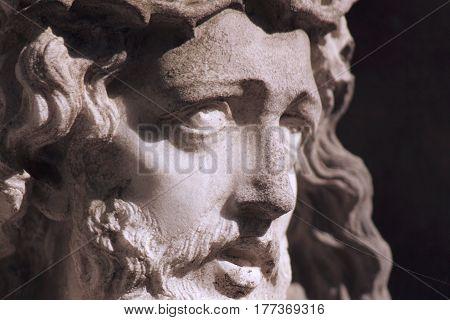 detail of sculpture of Jesus Christ (Religion faith sin salvation concept)