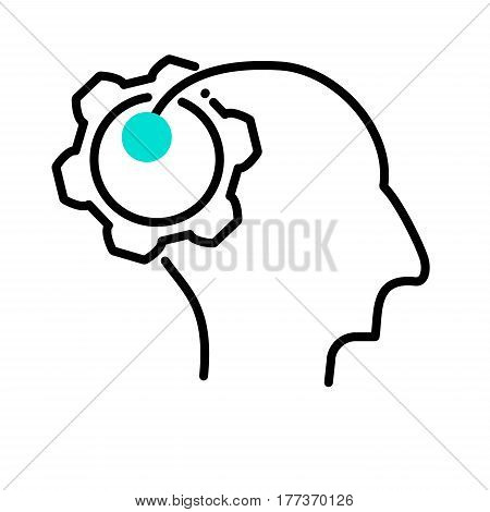 Human mind icons, thin line style. A man with ideas, the concept of a creative symbol. Color style of the 80's