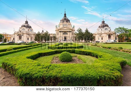 The famous Szechenyi thermal Baths, spa and swimming pool in Budapest, Hungary. Building's facade