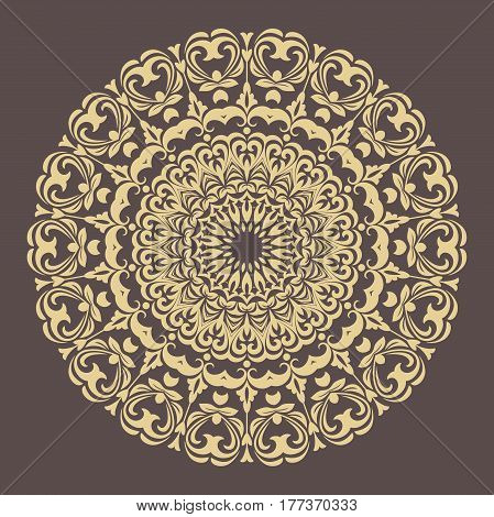 Elegant vector golden ornament in classic style. Abstract traditional pattern with oriental elements. Classic vintage pattern