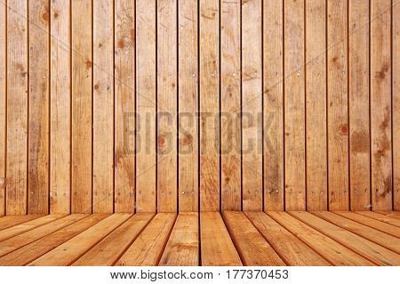 Empty wooden interior room for product placement selective focus on foreground