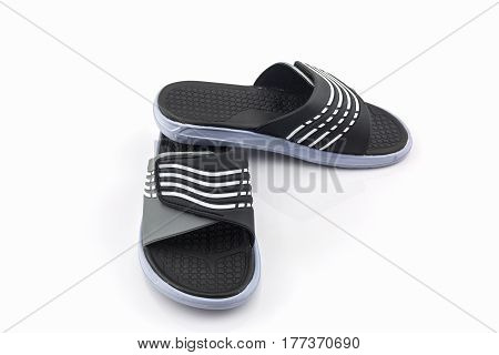 Sandals shoes. Black color flip flops on white background.