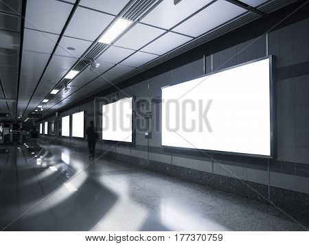 Blank Billboard Banner Media Light box Subway station with blurred people