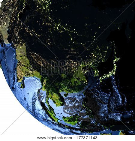 East Asia On Earth At Night With Exaggerated Mountains