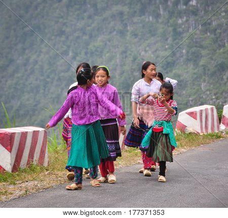 Ethnic People At Mounain Village In Vietnam